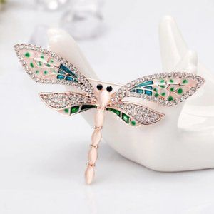 Beautiful Rose Gold Dragonfly Lapel Pin Brooch